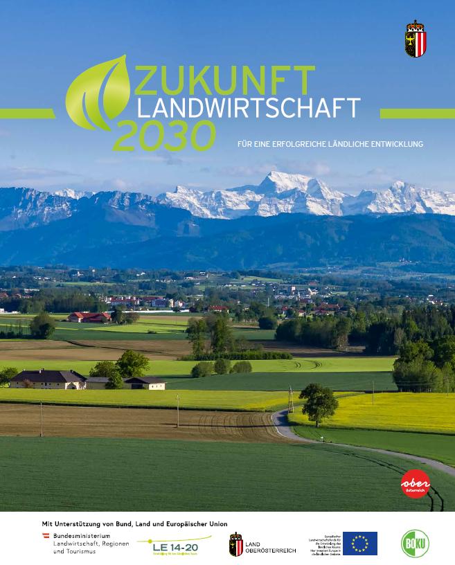 Titelseite Buch Landwirtschaft 2030 mit Landschaft als Hintergrundbild